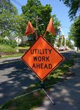 Utility Work Ahead Royalty Free Stock Photography