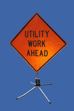 Utility work ahead sign Stock Photo