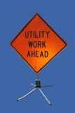 Utility work ahead sign stock photo