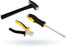 Utiliza ferramentas o martelo dos alicates da chave de fenda Fotos de Stock