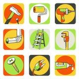 Utiliza ferramentas os ícones 1 Fotografia de Stock Royalty Free