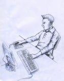 Utilizador del ordenador - bosquejo stock de ilustración