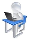 Utilizador en la computadora portátil Foto de archivo libre de regalías