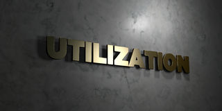 Utilization - Gold text on black background - 3D rendered royalty free stock picture. This image can be used for an online website banner ad or a print Royalty Free Stock Images