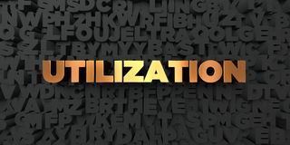 Utilization - Gold text on black background - 3D rendered royalty free stock picture. This image can be used for an online website banner ad or a print Royalty Free Stock Image
