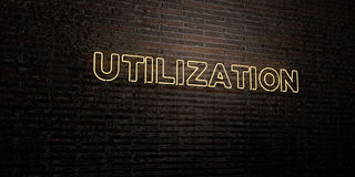 UTILIZATION -Realistic Neon Sign on Brick Wall background - 3D rendered royalty free stock image. Can be used for online banner ads and direct mailers Royalty Free Stock Images