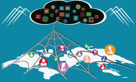 Utilization of technology cloud computing , look like spider web. Vector Royalty Free Stock Photos