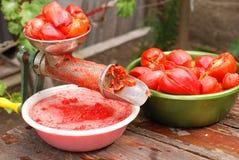 Utilize ferramentas fazendo o suco de tomates imagem de stock royalty free