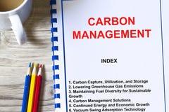 Utilizzazione e gestione di bloccaggio del carbonio immagini stock