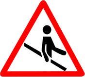 Utilizzi il balaustro, l'inferriata, corrimano delle scale Segno rosso del simbolo di pericolo di cautela del triangolo su fondo  illustrazione di stock