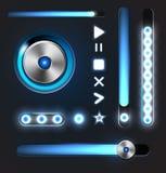 Utjämnare- och spelaremetallknappar med spårstången Arkivbild