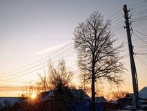 Utkant av lilla staden i vinter Fotografering för Bildbyråer