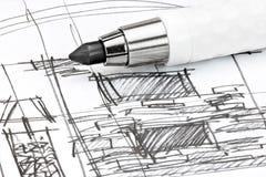 Utkastinre skissar för vardagsrum och mekanisk blyertspenna Royaltyfri Bild