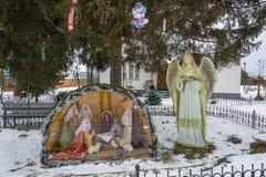 Utläggning av födelsen av Jesus Christ i Dunilovskyen conven Royaltyfri Bild