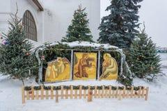 Utläggning av födelsen av Jesus Christ i Vvedenskyen Monaste Royaltyfria Bilder