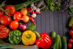 Utläggning som är nära upp av nya organiska grönsaker, sammansättning med blandade rå organiska grönsaker, röd peppar och tomaten Royaltyfri Foto