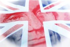 Utländska investeringar med den brittiska flaggan & Abraham Lincoln High Quality arkivfoton