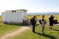 utländska russia turister Arkivfoto