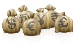 Utländska säckar för valutautbyte Royaltyfria Bilder