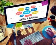 Utländska språk för kommunikation som hälsar världsomspännande begrepp fotografering för bildbyråer