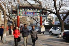Utländska turister i Beijing Arkivbilder