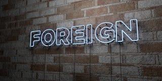 UTLÄNDSKT - Glödande neontecken på stenhuggeriarbeteväggen - 3D framförde den fria materielillustrationen för royalty royaltyfri illustrationer