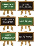 utländskt språk för utbildning vektor illustrationer