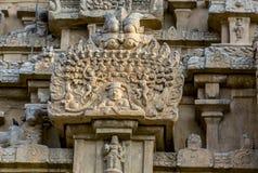 Utlännings skulptur på Thanjavur den stora templet royaltyfri foto