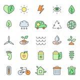 Utline multicolored eco icons vector set. Minimalistic style. Stock Images