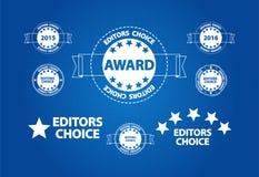 Utmärkelse för kvalitets- produkt för redaktörer prima Arkivfoto