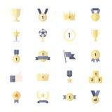 Utmärkelse och trofésymbol, bästa uppsättning för band av symboler för lägenhet för stil för symbol för färg för vektor för vinna Royaltyfri Fotografi