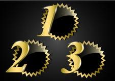 Utmärkelsebaner som är begreppsmässigt med valfritt nummer tre royaltyfri illustrationer