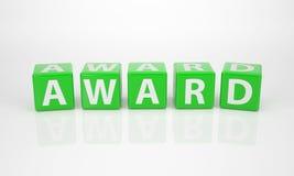 Utmärkelsen ut ur grön bokstav tärnar Royaltyfri Bild