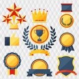 Utmärkelser och troféuppsättning av symboler. Arkivfoton