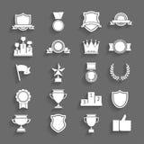 Utmärkelser och troféuppsättning av symboler. Arkivbilder