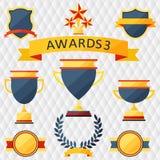 Utmärkelser och troféuppsättning av symboler. Arkivbild