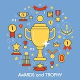 Utmärkelser och tunn linje Art Icons för trofé med koppmedaljpriset Vinnaremästarebegrepp Royaltyfria Bilder