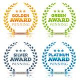 Utmärkelsesegra och Laurel Leaves Set Fotografering för Bildbyråer