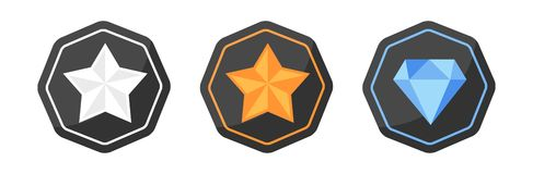 Utmärkelsesymboler försilvrar eller platina, guld, diamant royaltyfri illustrationer