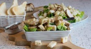 Utmärkt caesar sallad med grillad bakelse och höna som strilas med parmesanost Arkivfoto