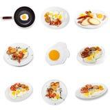 Utmärkt frukost för närbild av stekt ägg och skinka Royaltyfria Foton