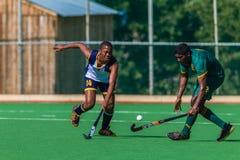 Utmaning för boll för hockeyspelareGlenwood DHS Royaltyfria Foton