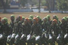 UTMANING FÖR SÄKERHET INDONESIEN FÖR MILITÄR ARMÉKRIGSMAKT NY Arkivbild