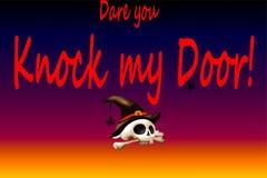 Utmaningen knackar du min dörr av halloween stock illustrationer