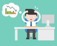 Utmattad affärsmanspänning och paranoid på kontoret därför att bad vektor illustrationer