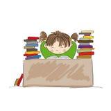 Utmattad flicka som förbereder sig för examina som hårt studerar vektor illustrationer