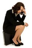 utmattad kvinna för affär arkivbild