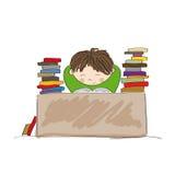 Utmattad pojke som förbereder sig för examina som hårt studerar stock illustrationer