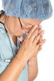 utmattad sjuksköterska Royaltyfria Bilder