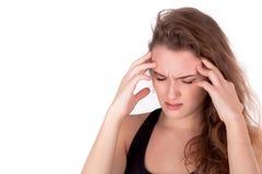 Utmattad stressad kvinna - affärskvinna Royaltyfri Foto